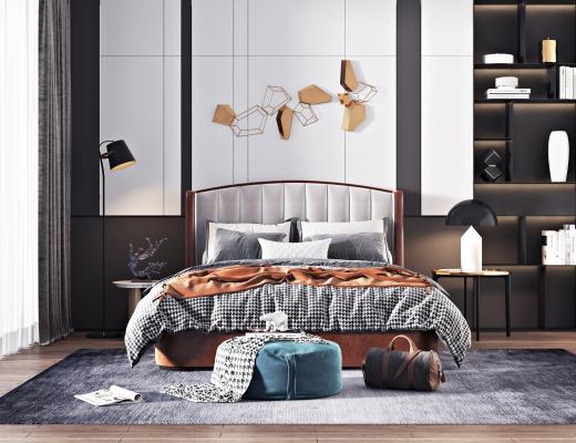 現代輕奢臥室3D模型【ID:545782281】