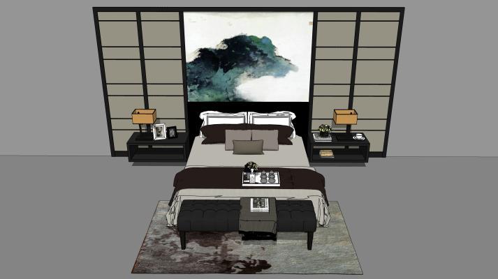 新中式雙人床組合SU模型【ID:545919238】