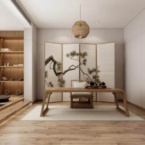 日式書房3D模型【ID:548760432】