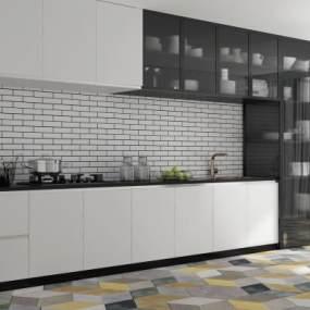 现代开放式厨房3D模型【ID:532849328】