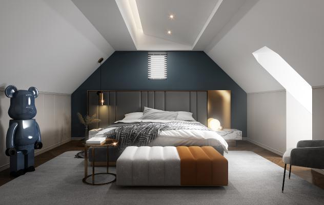 现代阁楼卧室3D模型【ID:553242270】