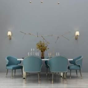 现代餐桌椅组合3D模型【ID:833804837】