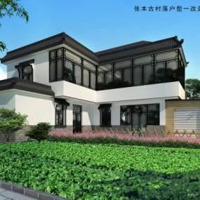 传统中式别墅3D模型【ID:135673387】