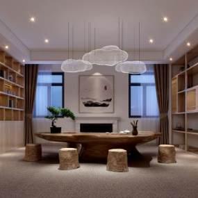 新中式茶室3D模型【ID:632724174】