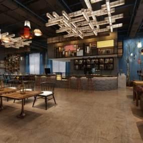 工业风咖啡厅3D模型【ID:635853240】