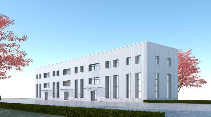 现代工业厂房3D模型【ID:245677339】