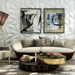 后现代沙发组合3D模型【ID:633511748】