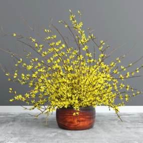 現代黃色花卉3D模型【ID:243891852】