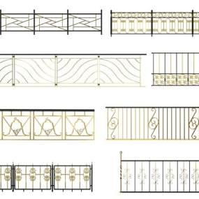 金属栏杆组合3D模型【ID:336026350】