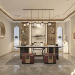 新中式輕奢茶室3D模型【ID:646972107】