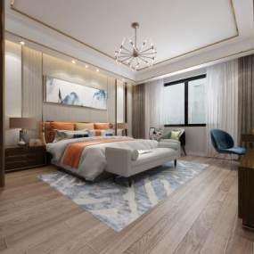 现代轻奢风格卧室3D模型【ID:844518704】
