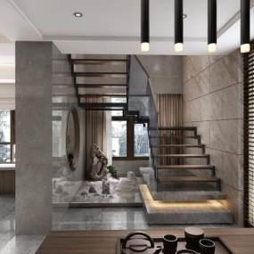 新中式茶室楼梯3D模型【ID:532247975】
