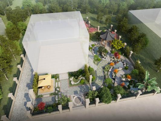 中式庭院景觀3D模型【ID:131342422】