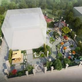 中式庭院景观3D模型【ID:131342422】