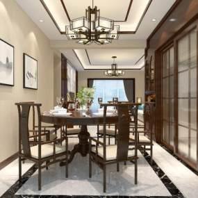 中式客餐厅3D模型【ID:531478071】