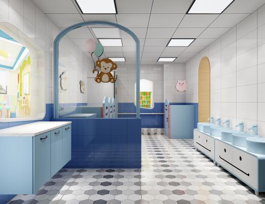 現代幼兒園衛生間3D模型【ID:943131910】