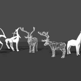 北欧风格小鹿艺术雕塑 马雕塑 牛雕塑【ID:653302639】