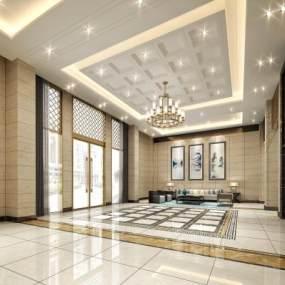 新中式工装大厅3D模型【ID:944234926】