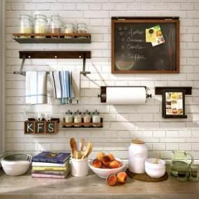 现代厨房用具餐具3D模型【ID:231304860】
