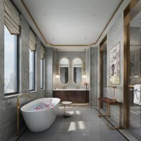現代風格酒店衛生間3D模型【ID:443633109】