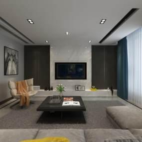 新中式客厅3D模型【ID:536072030】