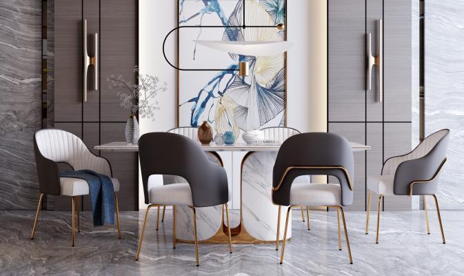 现代轻奢餐桌椅组合3D模型【ID:741857164】