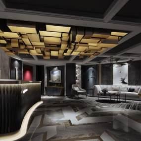 现代酒店休闲区 3D模型【ID:636064588】