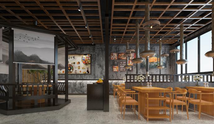现代烤肉店 吊灯 挂画
