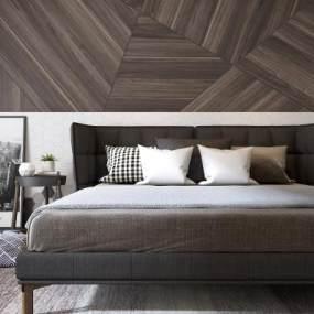 现代卧室双人床3D模型【ID:530431249】