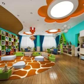 现代幼儿园活动教室3D模型【ID:943517612】