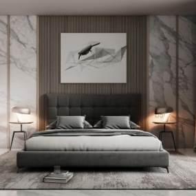 現代床具組合3D模型【ID:843884716】