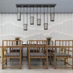 新中式茶桌椅吊灯背景墙组合3D模型【ID:932028502】