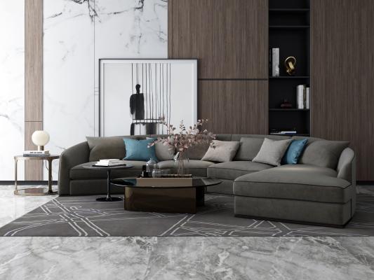 现代异形沙发组合3D模型【ID:644394792】