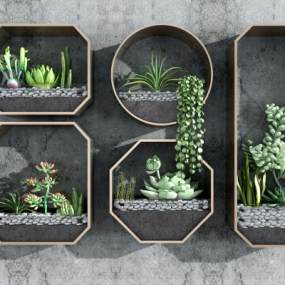 现代植物多肉墙饰3D模型【ID:245482784】