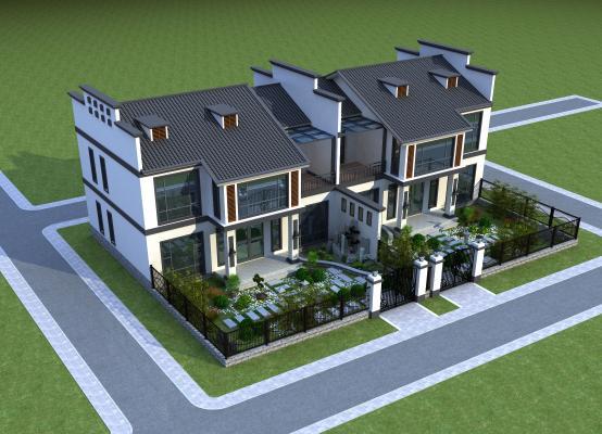 新中式別墅3D模型【ID:142155316】