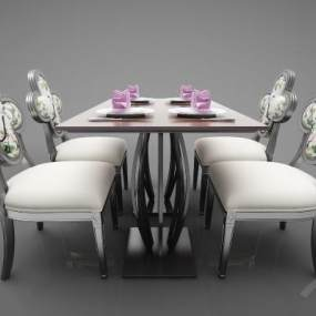 新中式風格餐桌3D模型【ID:846936896】