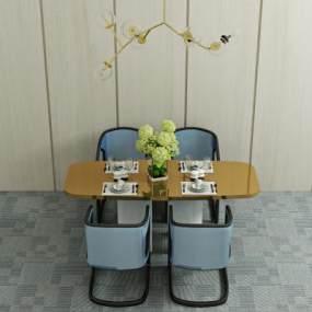 现代餐桌椅组合3D模型【ID:834914862】