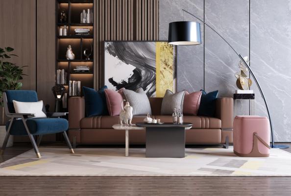 现代轻奢沙发组合3D模型【ID:653445756】