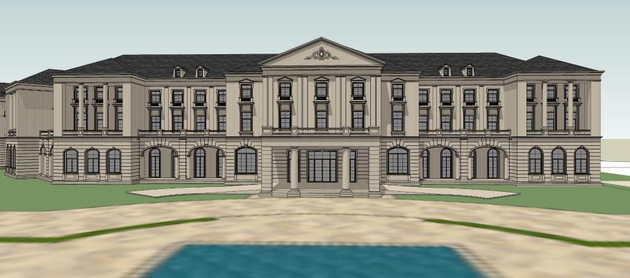 其他风格会所建筑景观SU模型【ID:252880375】