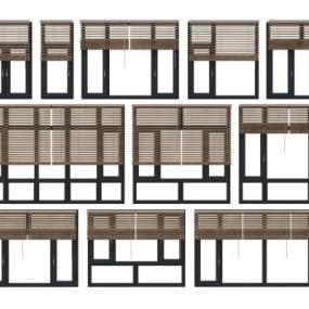 现代铝合金窗百叶窗帘组合 3D模型【ID:340621234】