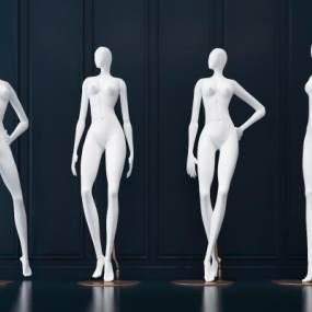 现代服装模特组合3D模型【ID:431410025】