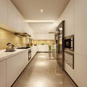 现代风格舒适型厨房3D模型【ID:536232345】