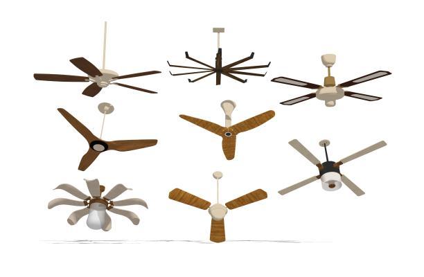 現代風扇吊扇燈組合SU模型【ID:347882835】