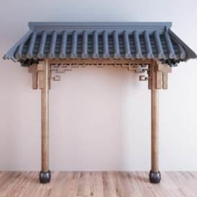 新中式屋顶屋檐门头3D模型【ID:353351469】