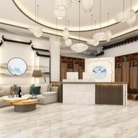 新中式餐厅3D模型【ID:650604245】