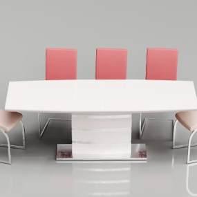 现代时尚餐桌组合3D模型【ID:836058845】
