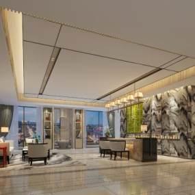 现代酒店休息区3D模型【ID:635373560】