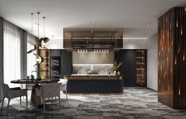 现代轻奢厨房3D模型【ID:553010336】