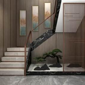 现代楼梯3D模型【ID:353723505】