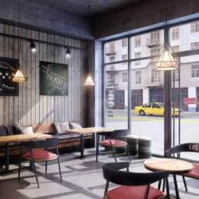 现代咖啡厅3D模型【ID:632159388】